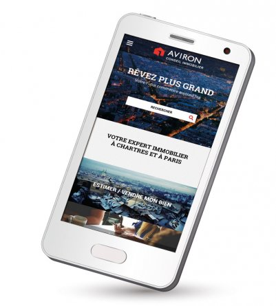 "Site internet mobile : Aviron Conseil Immobilier <a href=""http://aviron-immo.fr/"" target=""_blank"">visiter le site</a> <a class=""realisations-web"" href='https://hemispheres-compagnie.com/realisations-web.html'>Voir nos autres réalisations digitales →</a>"